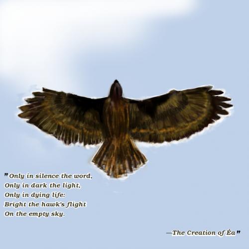 """Bright the hawk's flight in the empty sky"""