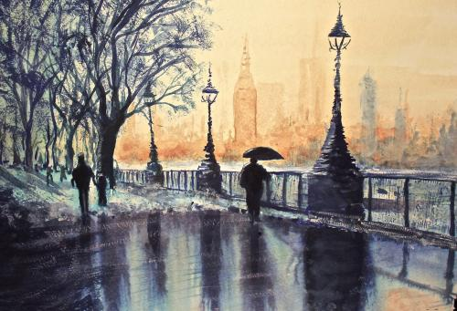 Blue Monday in watercolour