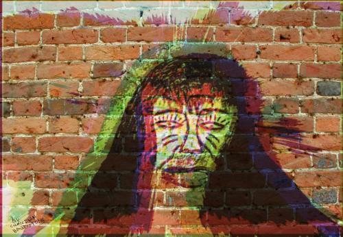 Joker multiple faces on the wall