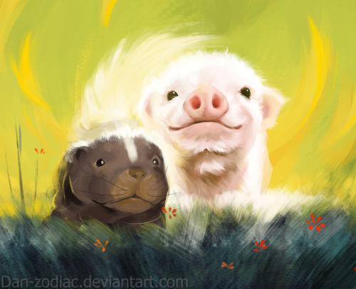 daily_paint___mister_piggy_and_mister_skunky___65_by_dan_zodiac-da3pvq6