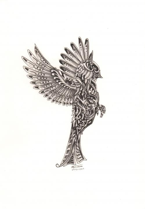 Mechanical Bird Drawing