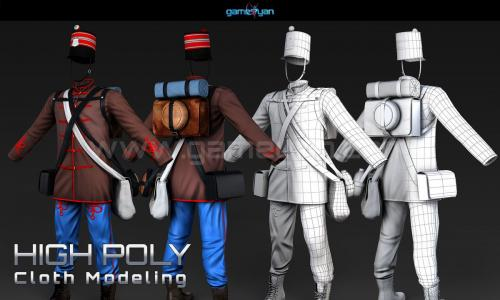 High Poly Cloth Modeling Animation