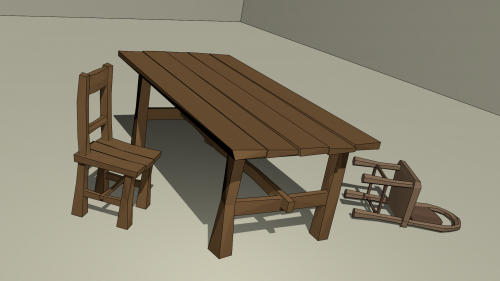 Old Table And Two Chairs