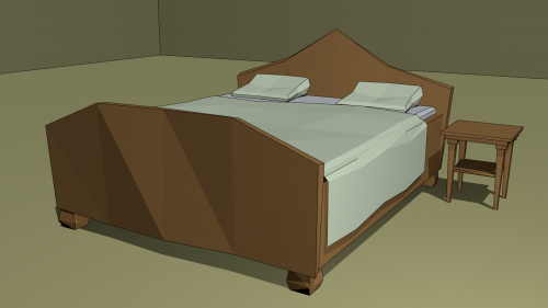 Double Bed And Bedside Table
