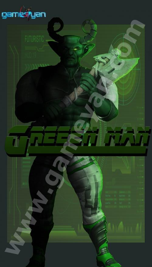 Green man warrior character animation