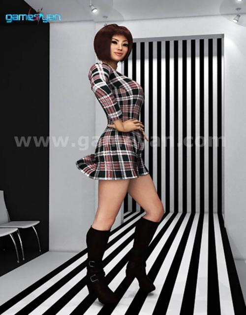 Fahion-lady-catwalk-animation-model-character-black-and-white-streips-chairs1